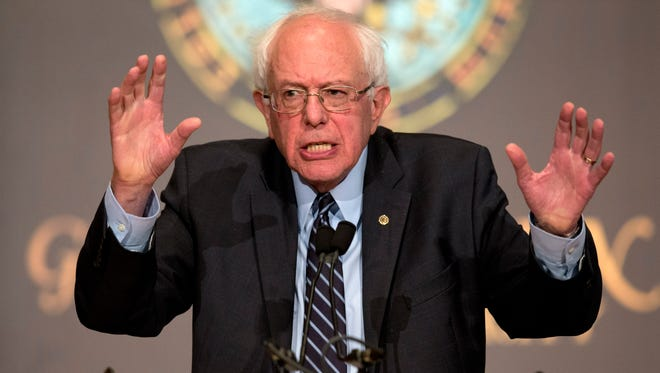 """Sen. Bernie Sanders, I-Vt., speaks at Georgetown University in Washington on Nov. 19, 2015, about the meaning of """"democratic socialism"""" and other topics."""