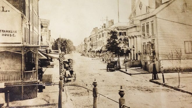 Main and Market streets in Poughkeepsie in 1852.