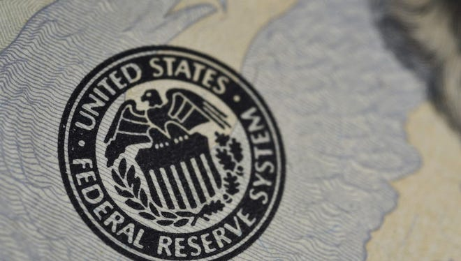 The seal of the Federal Reserve is seen on a U.S. banknote on June 1, 2016 in Washington, DC.