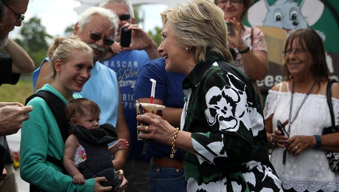 Hillary Clinton greets voters in Ashland, Ohio, July 31, 2016.