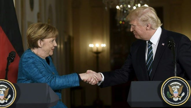 President Trump and Germany's Chancellor Angela Merkel at the White House on March 17, 2017.