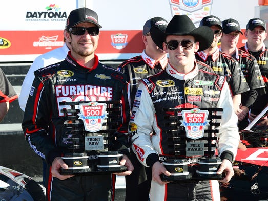 Austin Dillon, right, and Martin Truex Jr. will start first and second, respectively, in the 2014 Daytona 500.