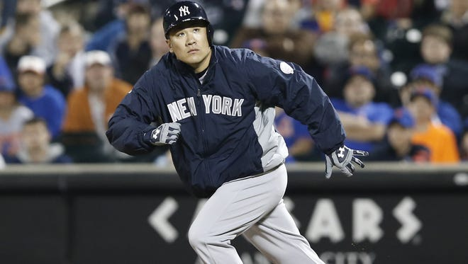 Yankees starting pitcher Masahiro Tanaka runs the bases in the ninth inning of his shutout victory over the Mets on Wednesday night at Citi Field.