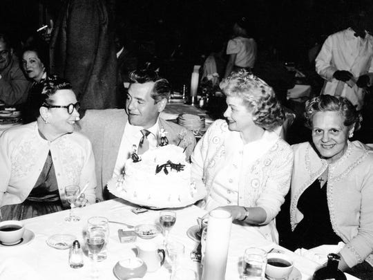 Desi Arnaz and Lucille Ball flanked by their mothers