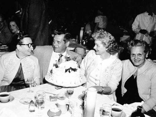 Desi Arnaz and Lucille Ball, flanked by their mothers,