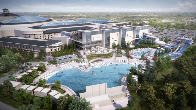 An aerial rendering shows Ryman Hospitality's planned SoundWaves water park.