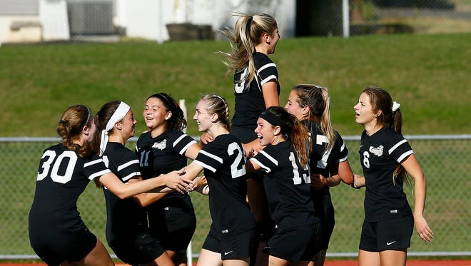East Brunswick vs. Old Bridge in the Greater Middlesex Conference Tournament girls soccer final at Woodbridge High School. The teams played to a 1-1 tie, both were crowned co-champions. October 28, 2017. Woodbridge, New Jersey