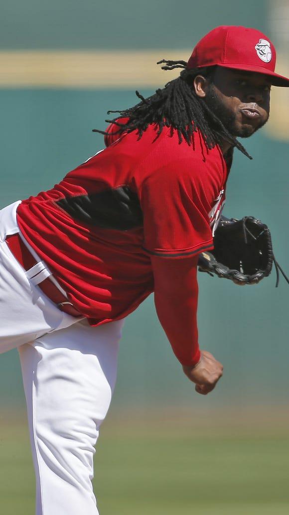 Johnny Cueto pitches against the Cleveland Indians on March 5.