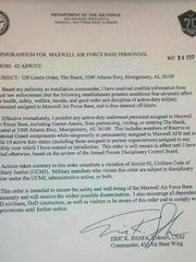 This is a copy of the off-limits memo issued at Maxwell AFB.