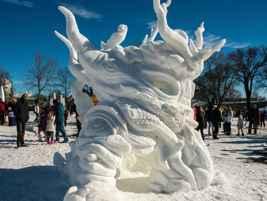 Snow sculptures like this can be seen at the Vulcan Snow Park at the Minnesota State Fairgrounds.