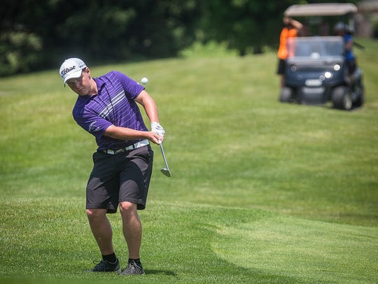 Central's Keegan Bronnenberg competes in the golf regionals