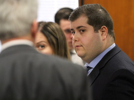 Danny RomeoDiSantillo is shown as his trial begins before Superior Court Judge James Blaney at the Ocean County Courthouse in Toms River Tuesday, January 31, 2017.  Romeo DiSantillo is charged with the murder, along with Hector Calderon, of Peyman Sanandaji at an empty restaurant in Jackson in 2015.