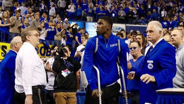Alex Poythress, days after tearing his ACL, made it to Rupp Arena on Saturday.