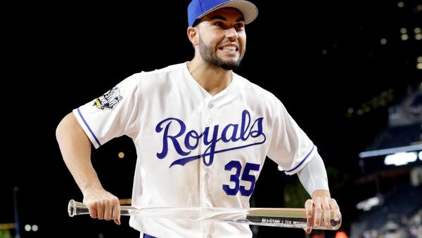 American League's Eric Hosmer, of the Kansas City Royals, holds the MVP award after the MLB baseball All-Star Game, Tuesday, July 12, 2016, in San Diego. The American League won 4-2.
