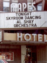 In 1982: An photograph of the Mapes Hotel marquee advertising dancing to the Al Shay Orchestra.