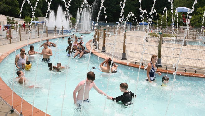 Children and adults enjoy the lazy river at The Brook at Tibbetts, in Tibbetts Brook Park in Yonkers. The pool opens for the season June 26.
