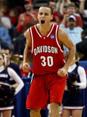 Davidson Wildcats guard Stephen Curry (30) reacts during the Wildcats 82-76 victory against the Gonzaga Bulldogs in the 1st round of the 2008 NCAA Mens Basketball Tournament