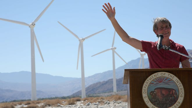 Interior Secretary Sally Jewell announces a draft of the Desert Renewable Energy Conservation Plan at a wind farm in Palm Springs on Sept. 23, 2014.