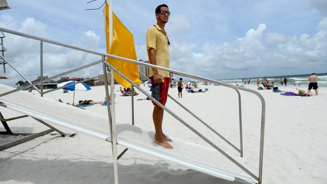Flags are currently yellow at Pensacola Beach and red at Navarre Beach.