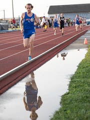 Zane Trace's Cole Clever took second place in the boys 800-meter run preliminary on Tuesday, May 15, 2018, at Washington Courthouse with a time of 2:08.08 during the first day of the District II track event.