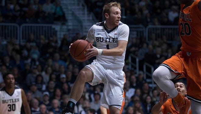 Butler's Tyler Lewis looks to pass during the Bulldogs' 86-60 win over Bucknell on Saturday afternoon at Hinkle Fieldhouse.