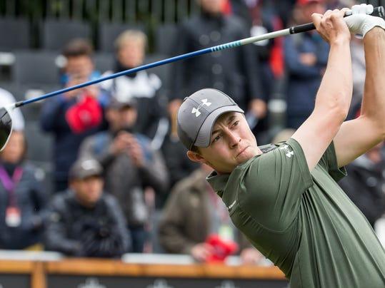 Matthew Fitzpatrick of England tees off during the third round of the Omega European Masters Golf Tournament in Crans-Montana, Switzerland, Saturday, Sept. 9, 2017. (Alexandra Wey/Keystone via AP)