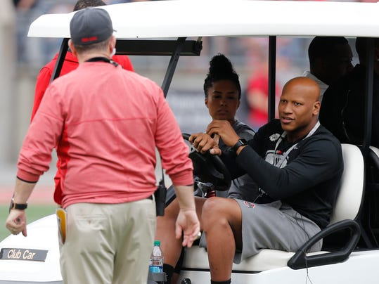 Pittsburgh Steelers linebacker Ryan Shazier drives a golf cart on the field before the start of Ohio State's NCAA college spring football game Saturday, April 14, 2018, in Columbus, Ohio. (AP Photo/Jay LaPrete)