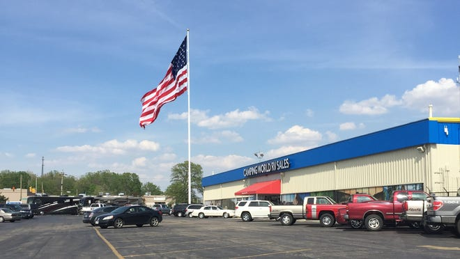 A new 130-foot flag pole and giant flag were installed recently at Camping World, one of the many changes coming to the former Tom Raper RVs dealership in Richmond.