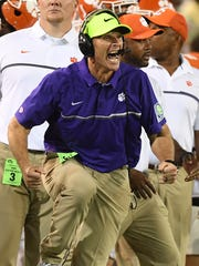 Clemson defensive coordinator Brent Venables reacts after a defensive stop against Georgia Tech during the 2nd quarter at Georgia Tech's Bobby Dodd Stadium in Atlanta on Thursday, September 22, 2016 at