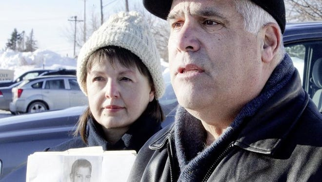 With his wife, Mary, by his side, Verne Wagner, northern Minnesota director of the Survivor Network of those Abused by Priests, reacts Tuesday to the Diocese of Duluth's release of the names of priests credibly accused of sexually abusing minors.