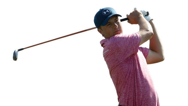 Jordan Spieth hits his tee shot on the 6th hole during the third round of the 2015 PGA Championship golf tournament at Whistling Straits.