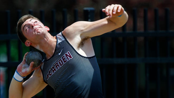 Bearden's Josh Sobota throws the shot put during the 2018 TSSAA Track and Field State Championships Thursday, May 24, 2018 in Murfreesboro, Tenn. (Photo by Wade Payne, Special to the Tennessean)