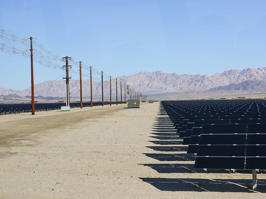 The 550-megawatt Desert Sunlight solar farm in Riverside County, California, about halfway between the Coachella Valley and the Arizona border.