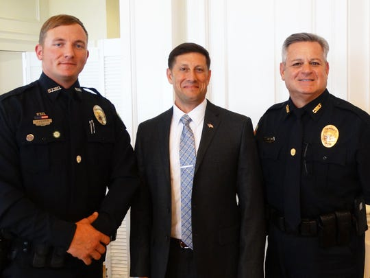 Josh Ferris, left, U.S. Army (Ret.) Lt. Col. Tom Di Tommasso, and Marco Island Police Chief Al Schettino.