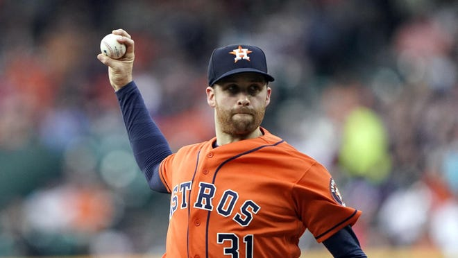 Current Red Sox right-hander Collin McHugh works for the Astros in 2019.