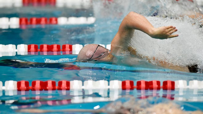 York Suburban's Aidan Fryar swims the boys' 50-yard freestyle in the PIAA District 3 AA boys' swimming championships Friday, March 2, 2018, at Cumberland Valley. Fryar placed second in the event, qualifying for states.