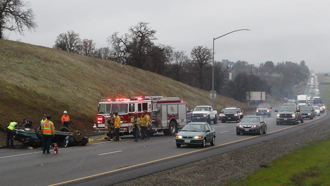 A wreck caused a traffic backup Friday on southbound Interstate 5 near Lake Blvd.
