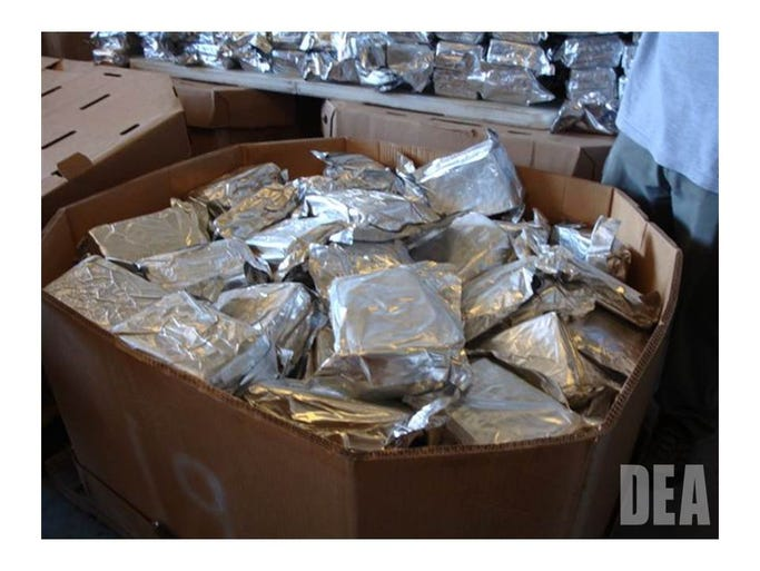A look inside one of the pallets of cocaine, found