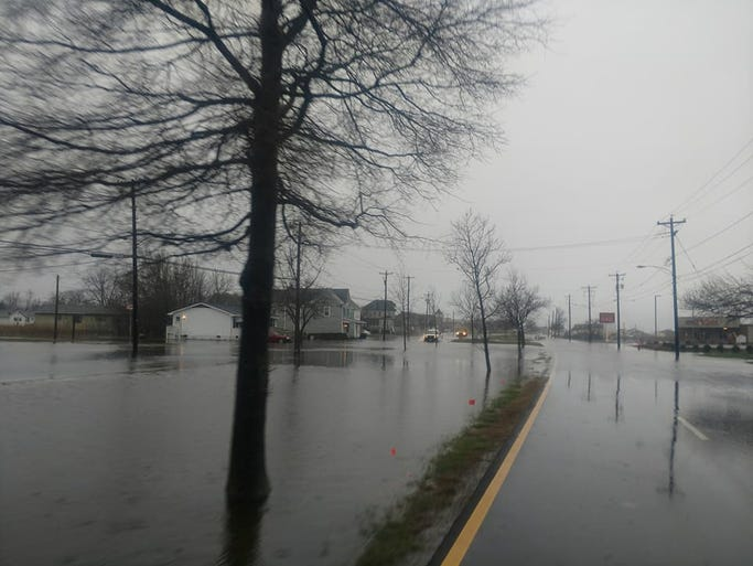 Downtown Crisfield saw moderate flooding Wednesday
