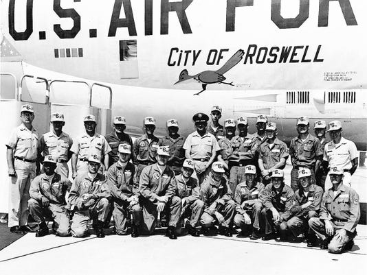 Roswell resident Martha Cullom designed and painted the roadrunner on this B52, which is parked at WAFB in 1965. Photo donated to Walker Aviation Museum by Martha Cullom.