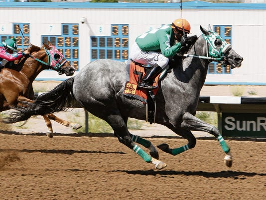 Courtesy photo - Coady Photography. Rg Miracle, shown here winning the New Mexico Breeders' Futurity at SunRay Park and Casino on Aug. 23, is looking for his second-career stakes win when he goes to the post as the 3-to-1 morning-line favorite in today's 214,768 Downs at Albuquerque Quarter Horse Futurity.