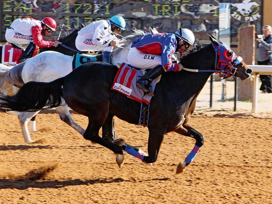 Jrc Callas First, shown here winning the Grade 1 Zia Park Championship last November, is the second choice on the morning line for today's 200,000 Downs at Albuquerque Quarter Horse Championship, the featured event on the closing day program for the 2015 New Mexico State Fair racing season.