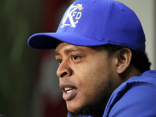 Kansas City Royals starting pitcher Edinson Volquez talks to the media during a news conference before batting practice for  the American League Championship Series on Thursday in Kansas City, Mo. Volquez will start for the Royals as they face the Toronto Blue Jays in Game 1 tomorrow.