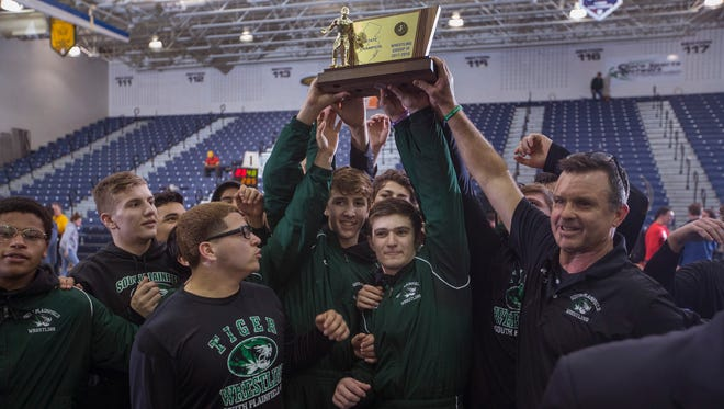 South Plainfield Wrestling defeats Delsea in NJSIAA Group III championship final on February 11, 2018 in Toms River, NJ.