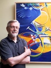 An exhibit of Ray Skibinski's abstract pieces at the