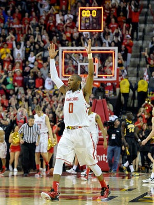 Maryland Terrapins guard Rasheed Sulaimon (0) reacts after defeating Iowa Hawkeyes 74-69 at Xfinity Center.