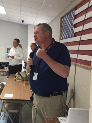 Social studies and English teacher Jeff Crawford gives a presentation Thursday about Summit Learning, a blended learning environment that will be offered to eighth-graders at Mountain Home Junior High School in the fall. The new program is optional.