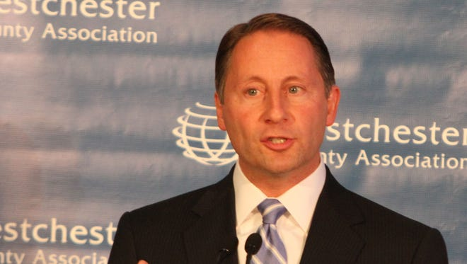 Westchester County Executive Rob Astorino will announce Wednesday, March 5, 2014, whether he'll run for governor. Here, Astorino and the Democratic challenger, New Rochelle Mayor Noam Bramson participate in the a debate sponsored by the Westchester County Association in White Plains Oct. 16, 2013.