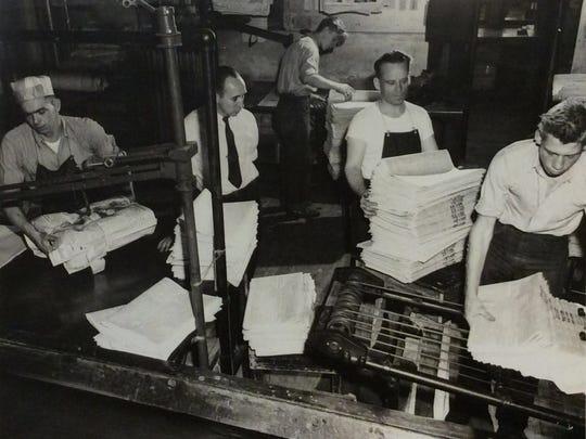 LSJ press room circa 1949.