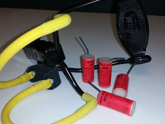 The West Manheim Township Police Department recovered these explosives and a sling shot Friday morning.